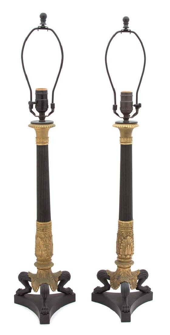 A Pair of French Empire Style Patinated and Gilt Bronze