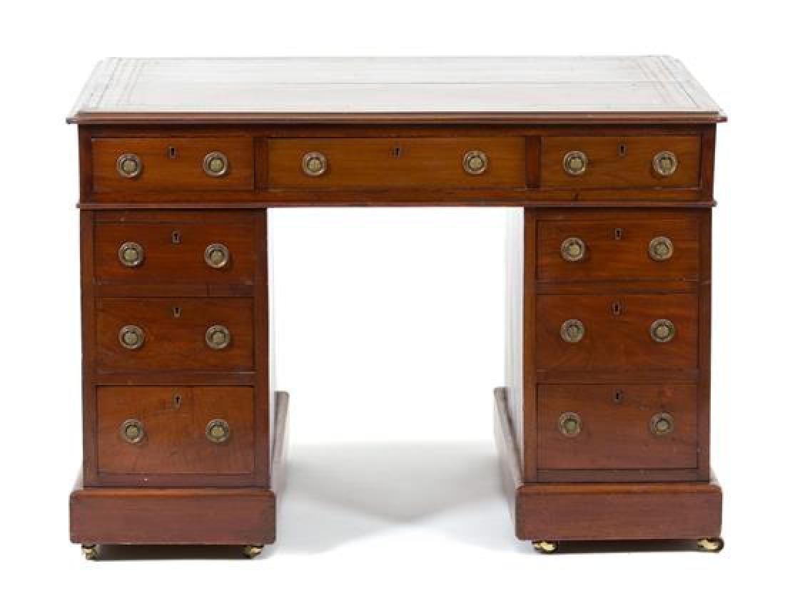 A George III Mahogany Pedestal Desk Height 28 1/2 x