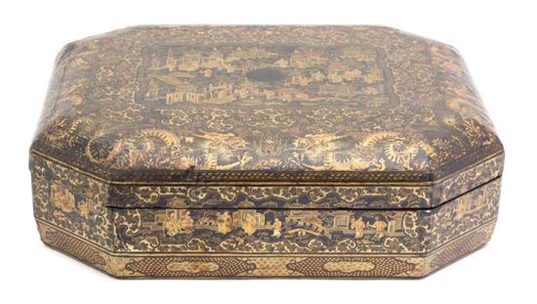 A Regency Style Chinoiserie Decorated Lacquer Box