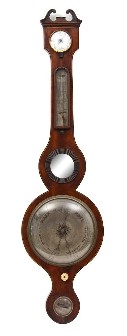 A Regency Mahogany Banjo Barometer Height 38 1/2