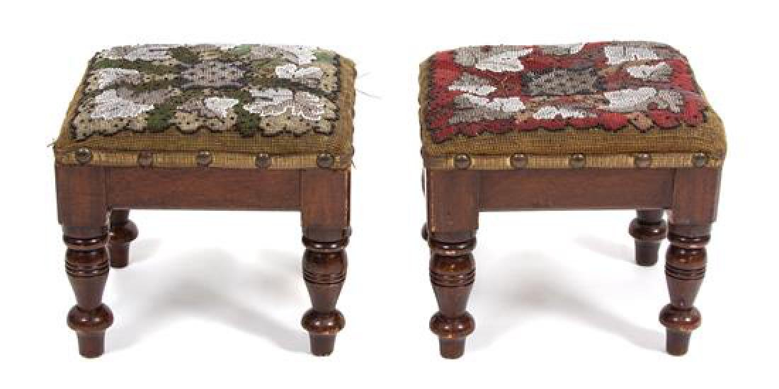 A Pair of Victorian Embroidered and Beaded Footstools