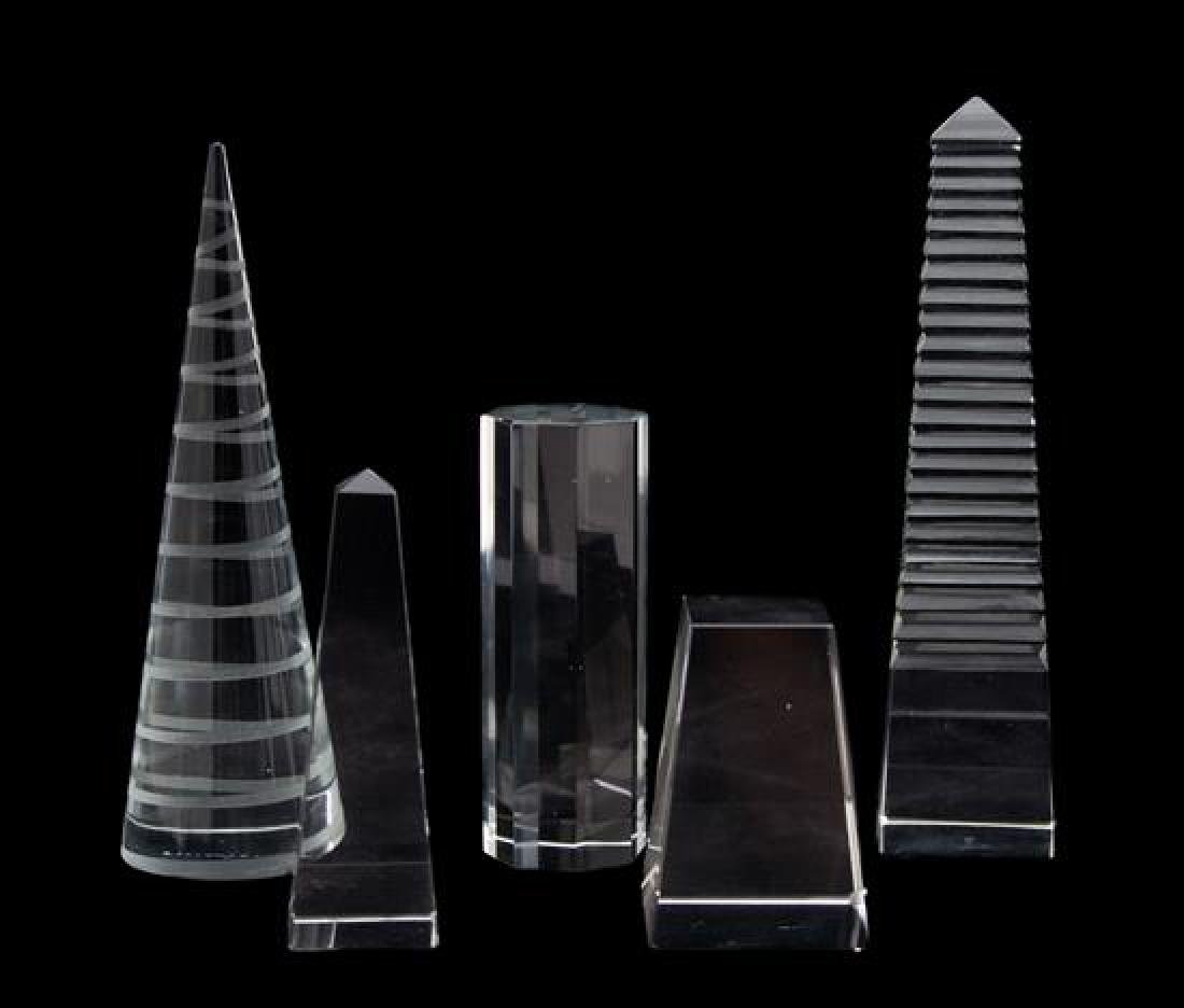 A Collection of Four Crystal Objects Height of tallest