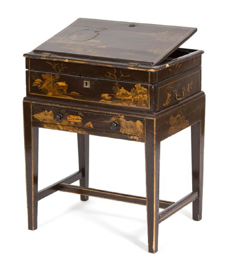 A Chinese Brown and Gilt Lacquer Writing Desk on Stand