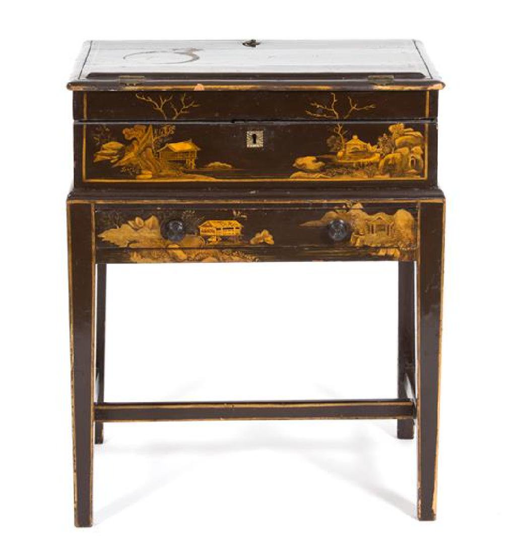 A Chinese Brown and Gilt Lacquer Writing Desk on Stand - 2