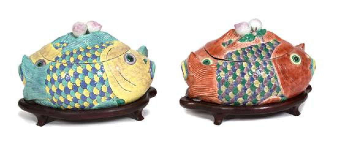 Two Chinese Export Double Fish-Form Tureens Height 12 x