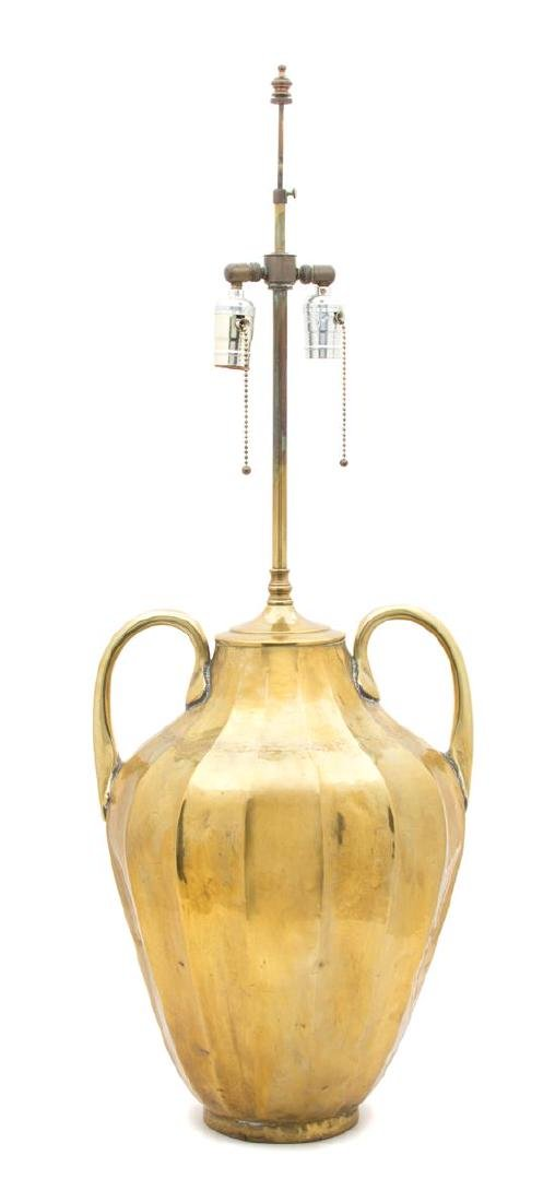 A Hand Hammered Brass Table Lamp Overall height 35