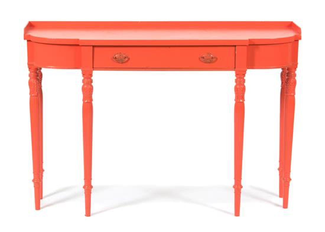 A Louis XVI Style Salmon Lacquer Console Table Height