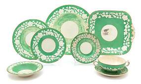 A Partial Set of English Green and White Porcelain