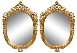 A Pair of Carved Giltwood Mirrors Height 49 x width 35