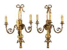 A Pair of Louis XVI Style Giltwood Three-Light Sconces
