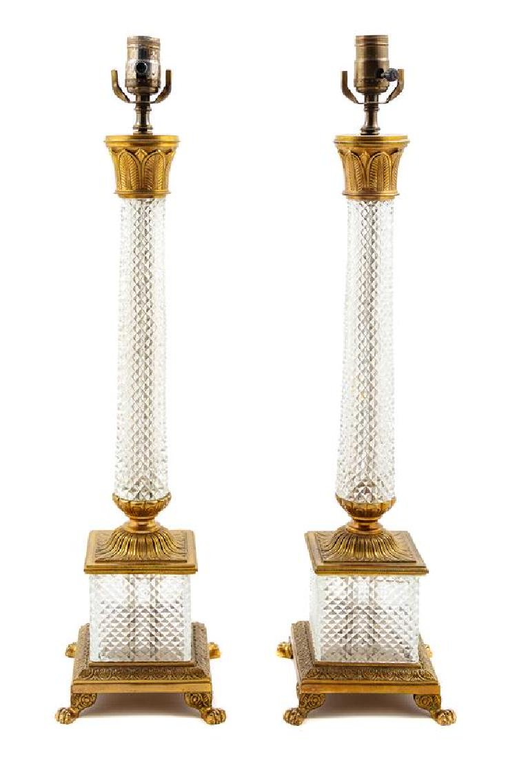 A Pair of French Gilt Metal and Cut Glass Lamps Height