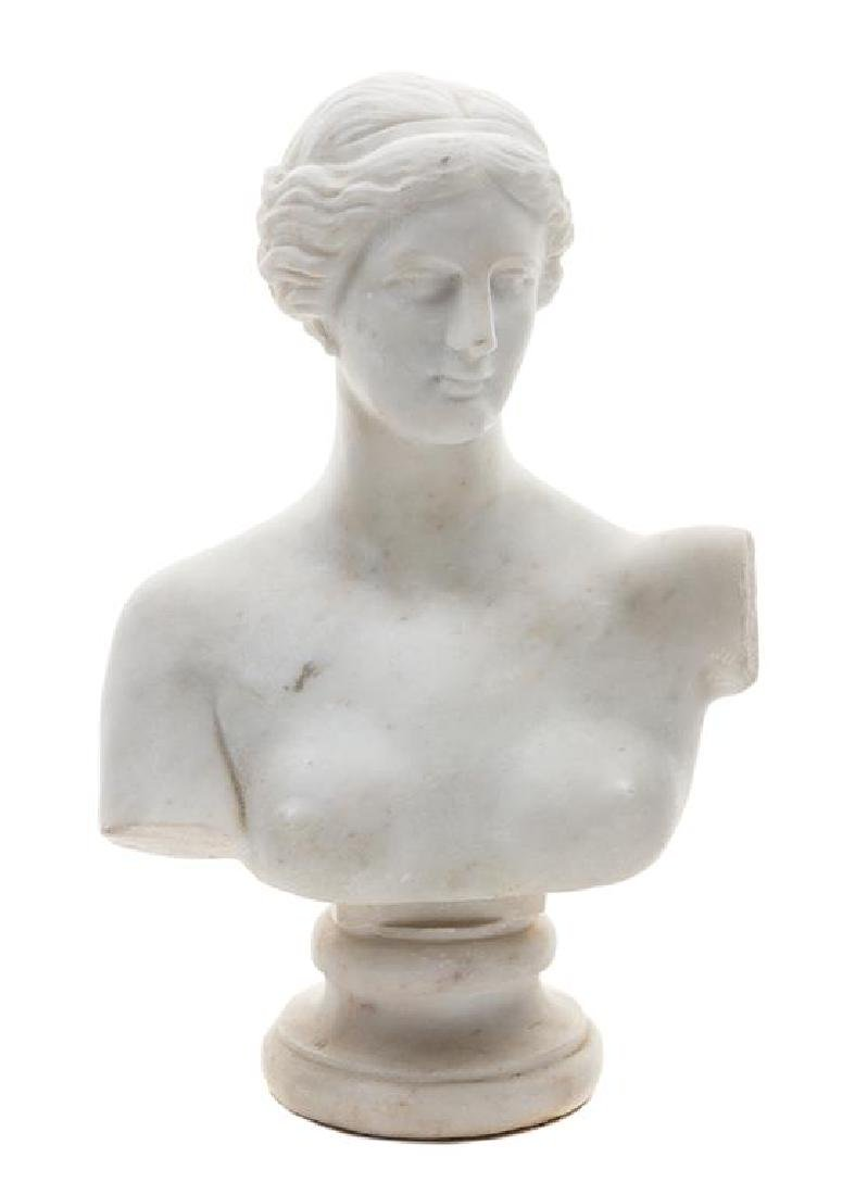 An Italian Marble Bust of Aphrodite Height 12 1/2
