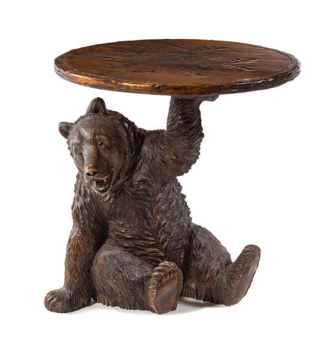 A Black Forest Style Bear Side Table Height 22 inches.