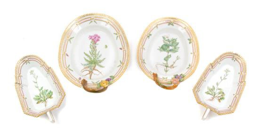 A Set of Four Royal Copenhagen Flora Danica Porcelain