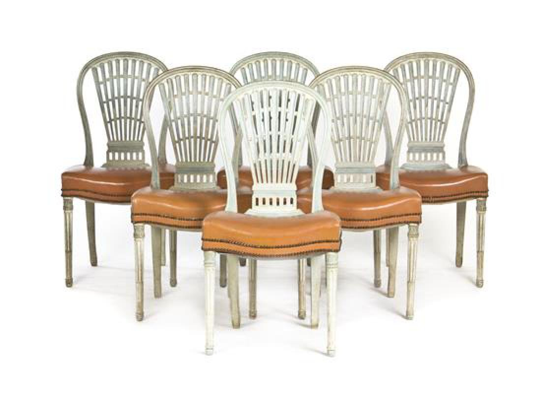 A Set of Twelve Gustavian Style Painted Side Chairs