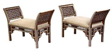 A Pair of Syrian MotherofPearl Inlaid Window Seats