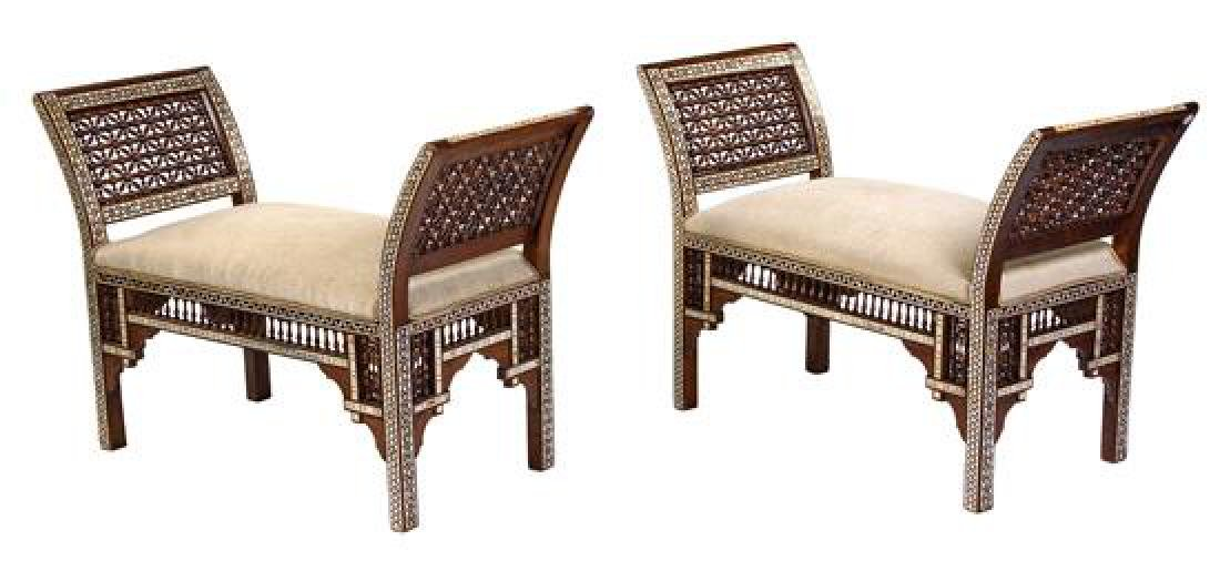 A Pair of Syrian Mother-of-Pearl Inlaid Window Seats