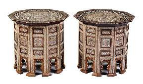 A Pair of Syrian MotherofPearl Inlaid Side Tables