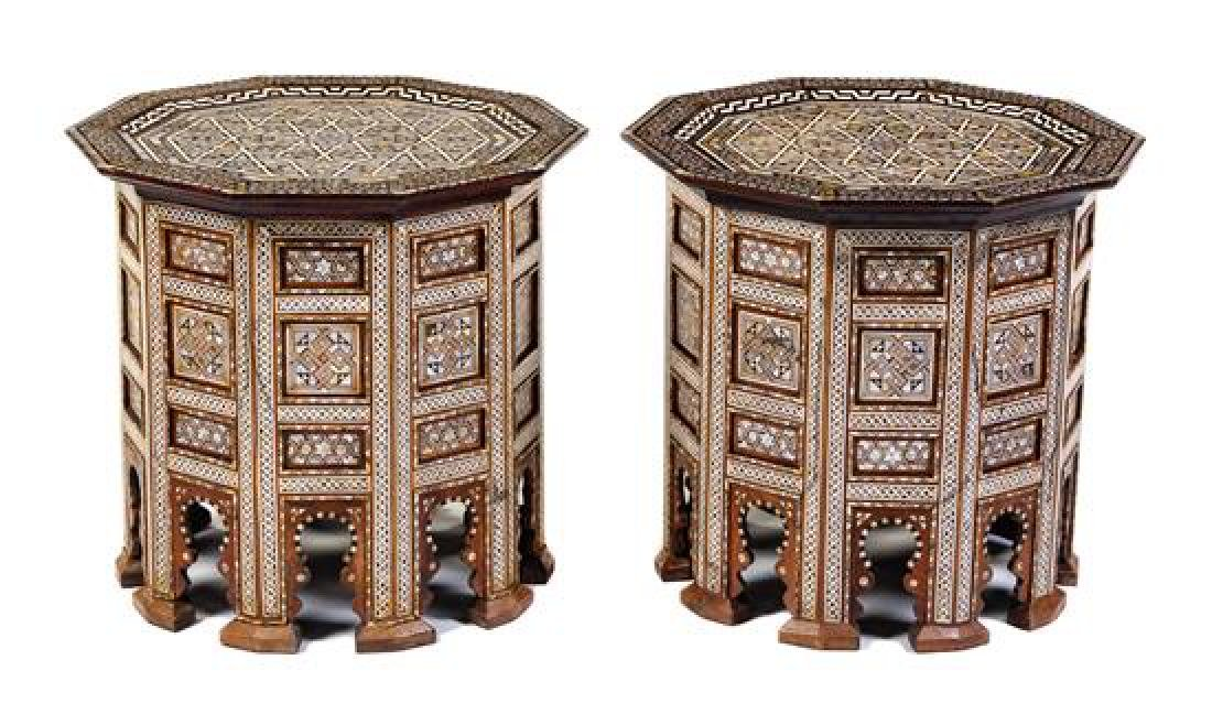 A Pair of Syrian Mother-of-Pearl Inlaid Side Tables