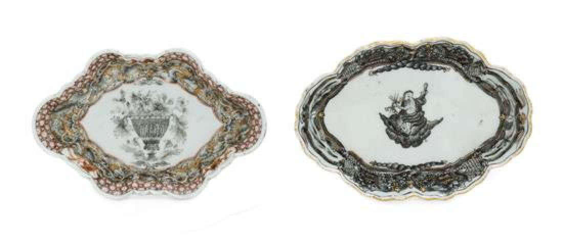 Two Chinese Export Porcelain Spoon Rests Width of each