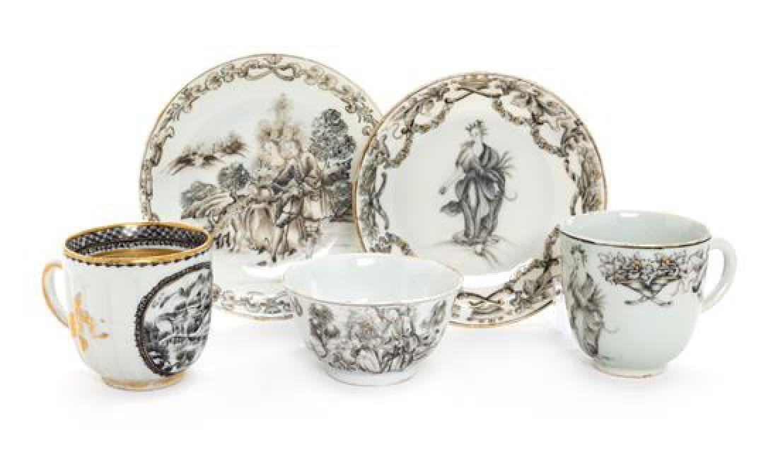 Five Chinese Export Porcelain Tea and Coffee Articles