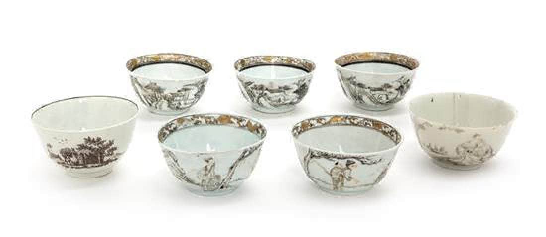 Seven Chinese Export Porcelain Tea Bowls Diameter of