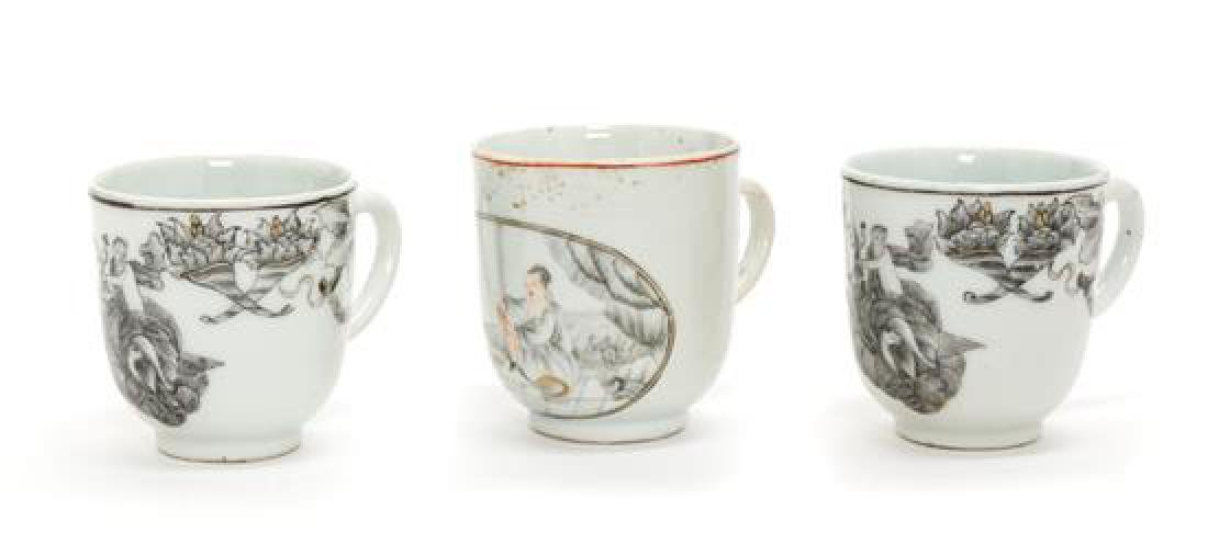Three Chinese Export Porcelain Teacups Height of