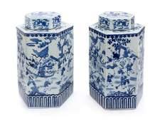 A Near Pair of Chinese Blue and White Porcelain Covered