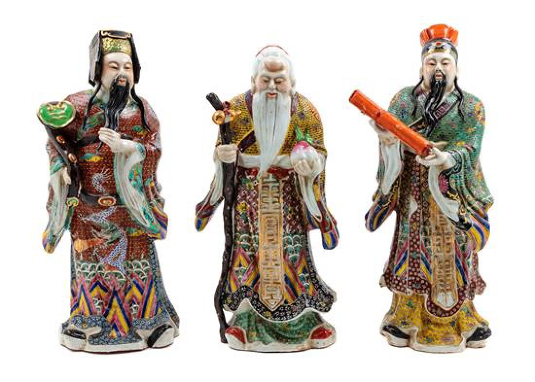 Three Chinese Enameled Porcelain Figures Height of