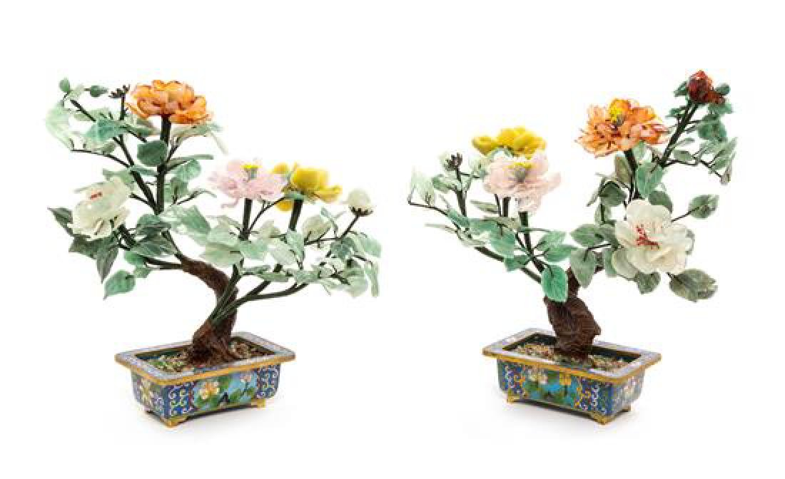A Pair of Chinese Hardstone Floral Arrangements Height