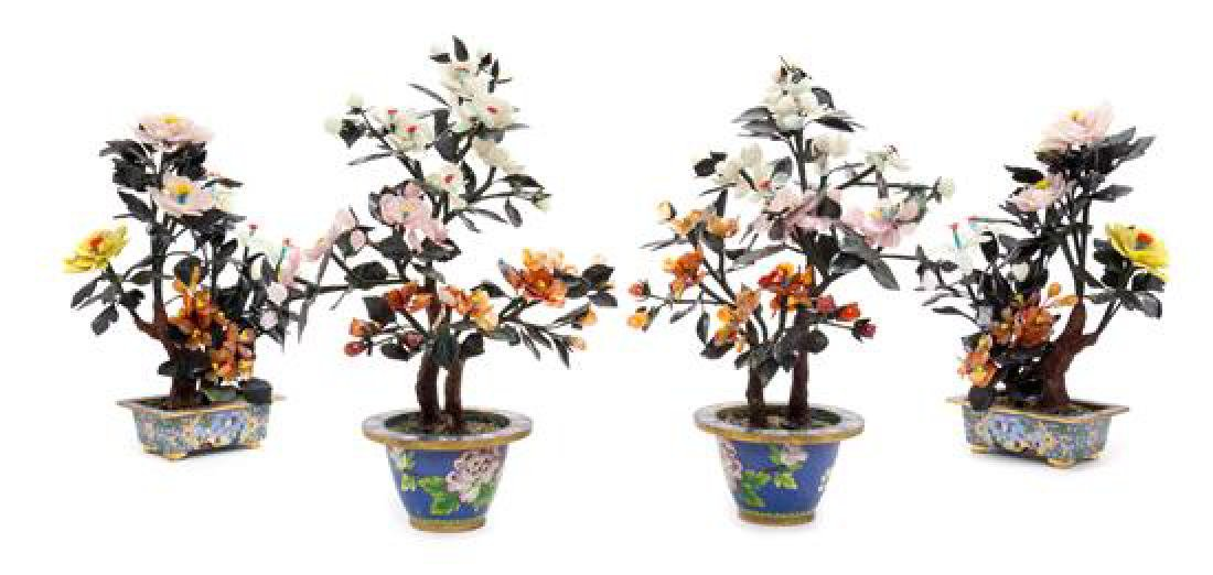 Two Pairs of Chinese Hardstone Floral Arrangements