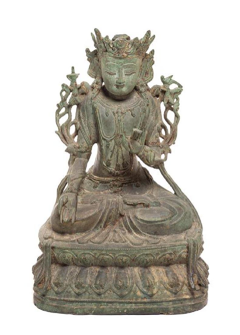 A Chinese Bronze Figure Height 13 1/2 inches.