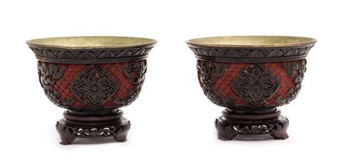 A Pair of Carved Lacquer on Metal Bowls Diameter 5 3/4