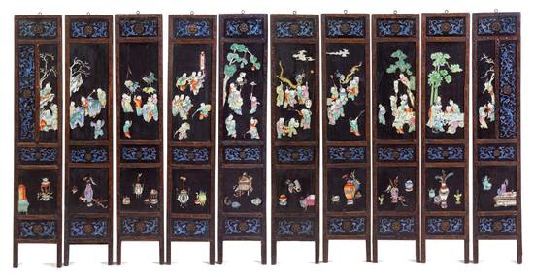 A Set of Ten Chinese Lacquered and Enameled Panels