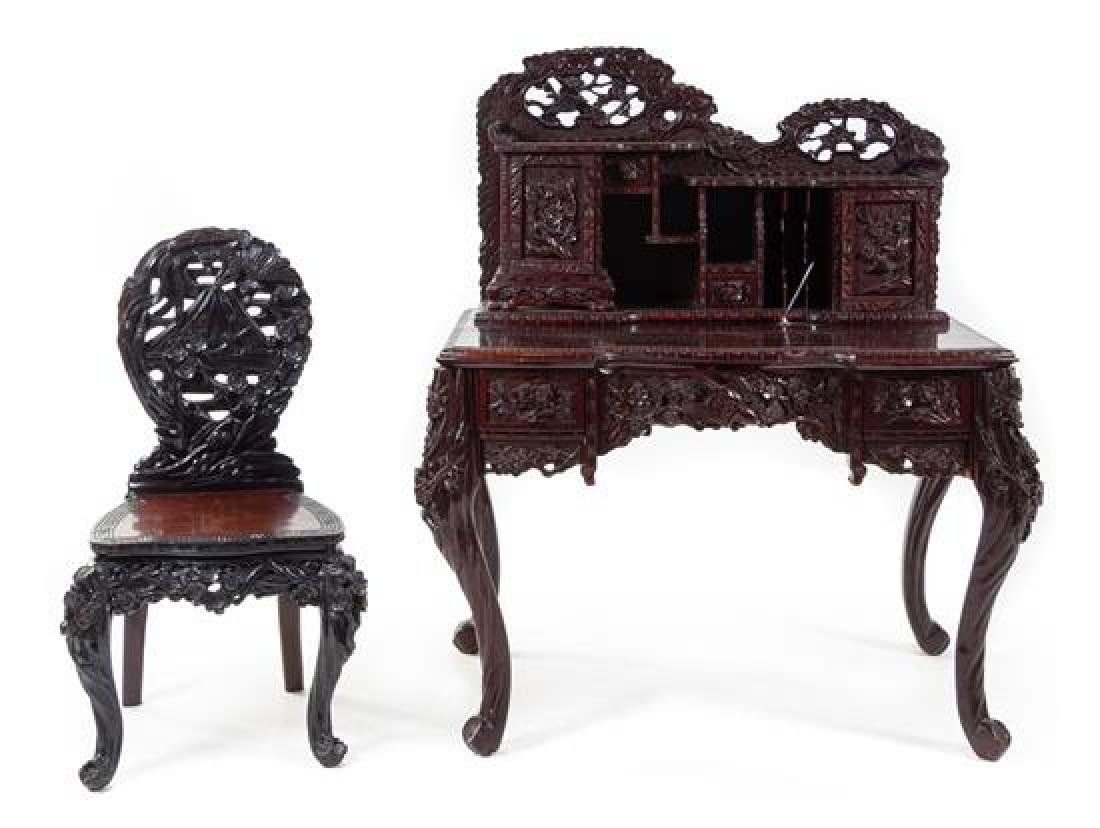 * A Japanese Carved Desk and Side Chair Height of desk