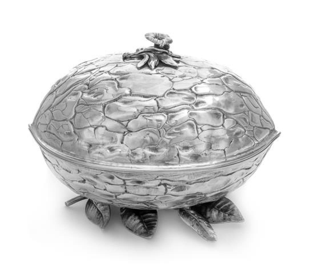An Italian Silver Covered Dish, Maker's Mark Obscured,