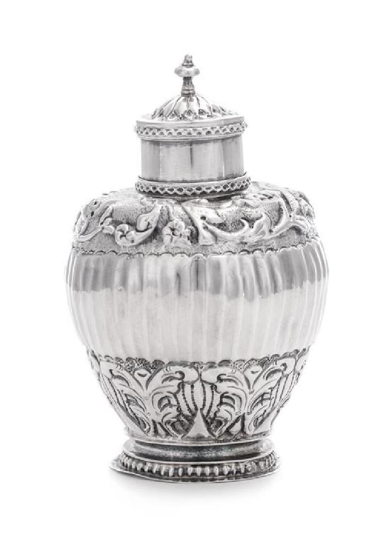 A Dutch Silver Tea Caddy, 18th Century, of ovoid form,