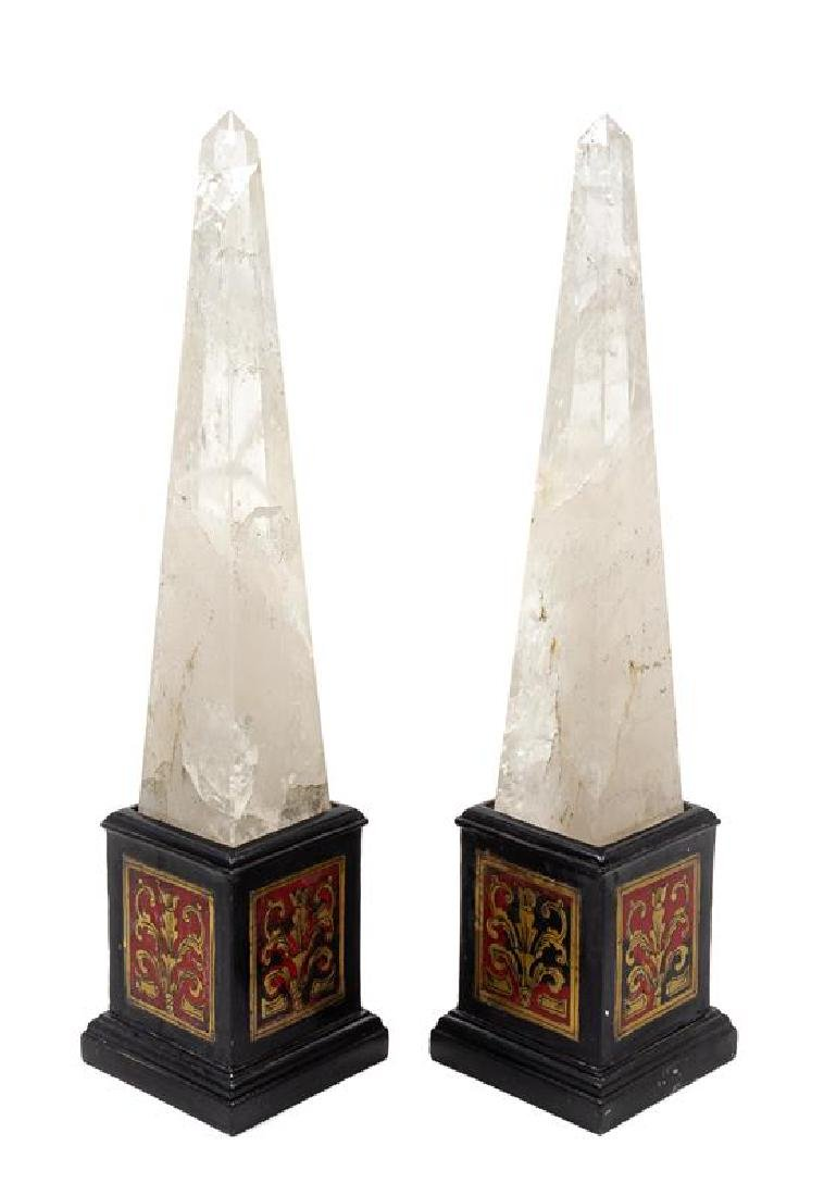 A Pair of Rock Crystal Obelisks Height overall 18 1/4