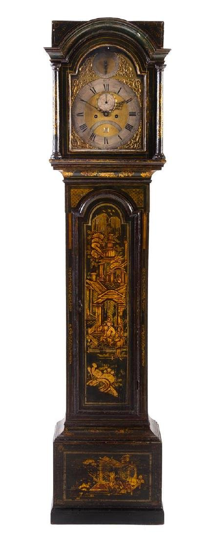 A George III Lacquered Tall Case Clock Height 82 1/2