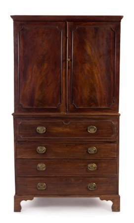 A George III Style Mahogany Linen Press Height 82 x