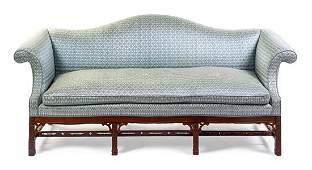 A George III Style Mahogany Sofa Height 37 1/2 x width