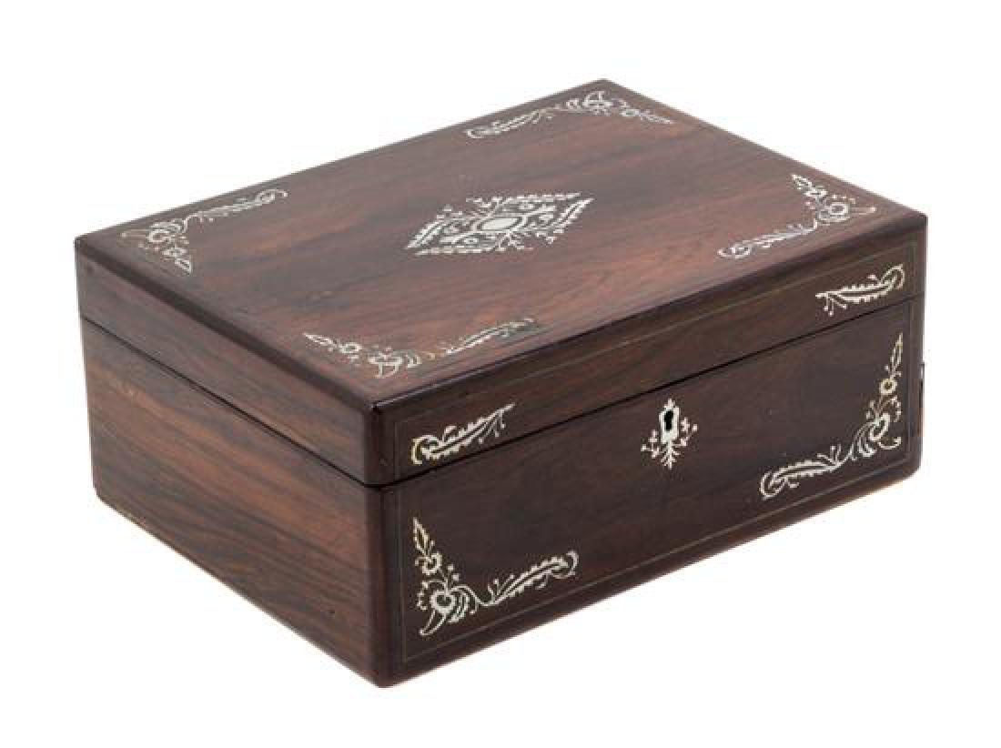 A Regency Mother-of-Pearl Inlaid Rosewood Sewing Casket