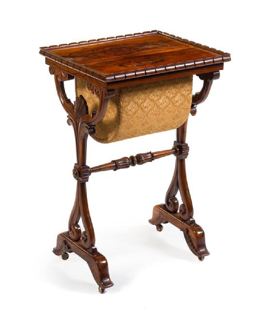 A Late Regency Mahogany Sewing Table Height 30 1/4 x