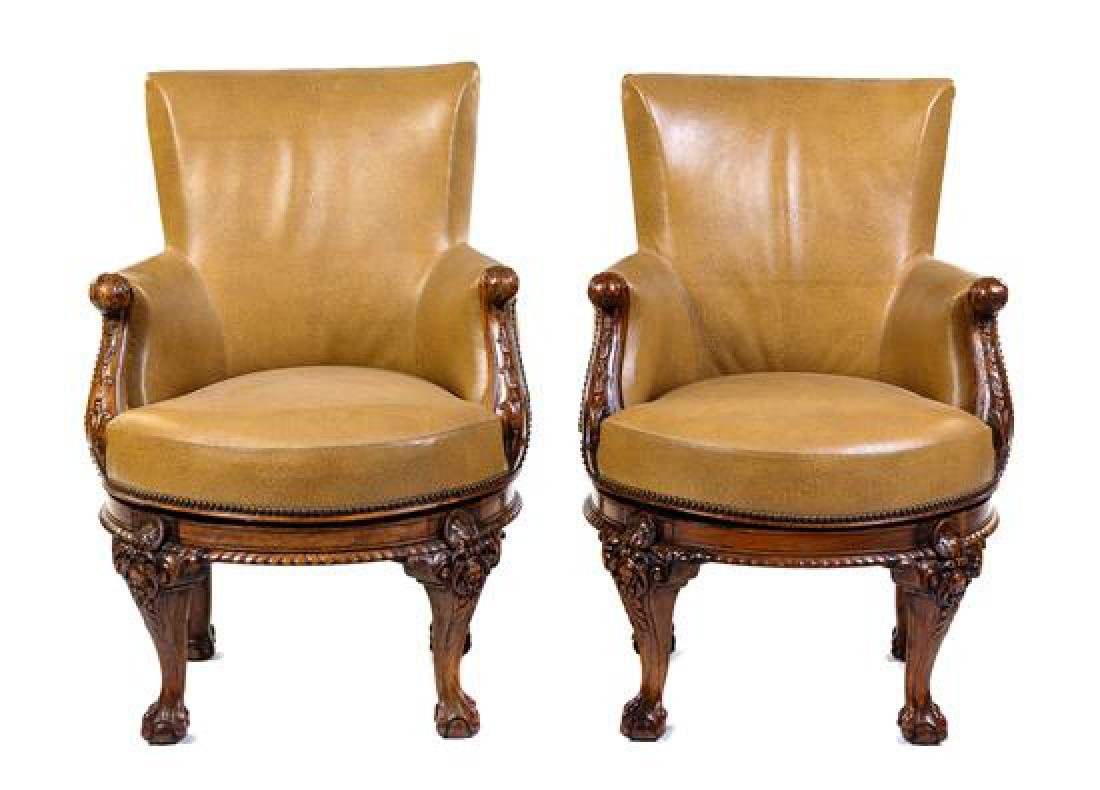 A Pair of George III Style Mahogany Armchairs Height 38