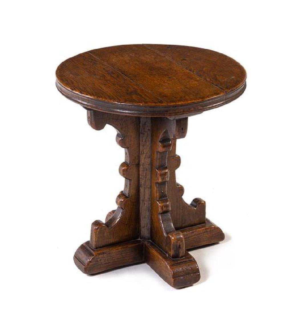 An English Oak Stool Height 18 x diameter 17 inches.