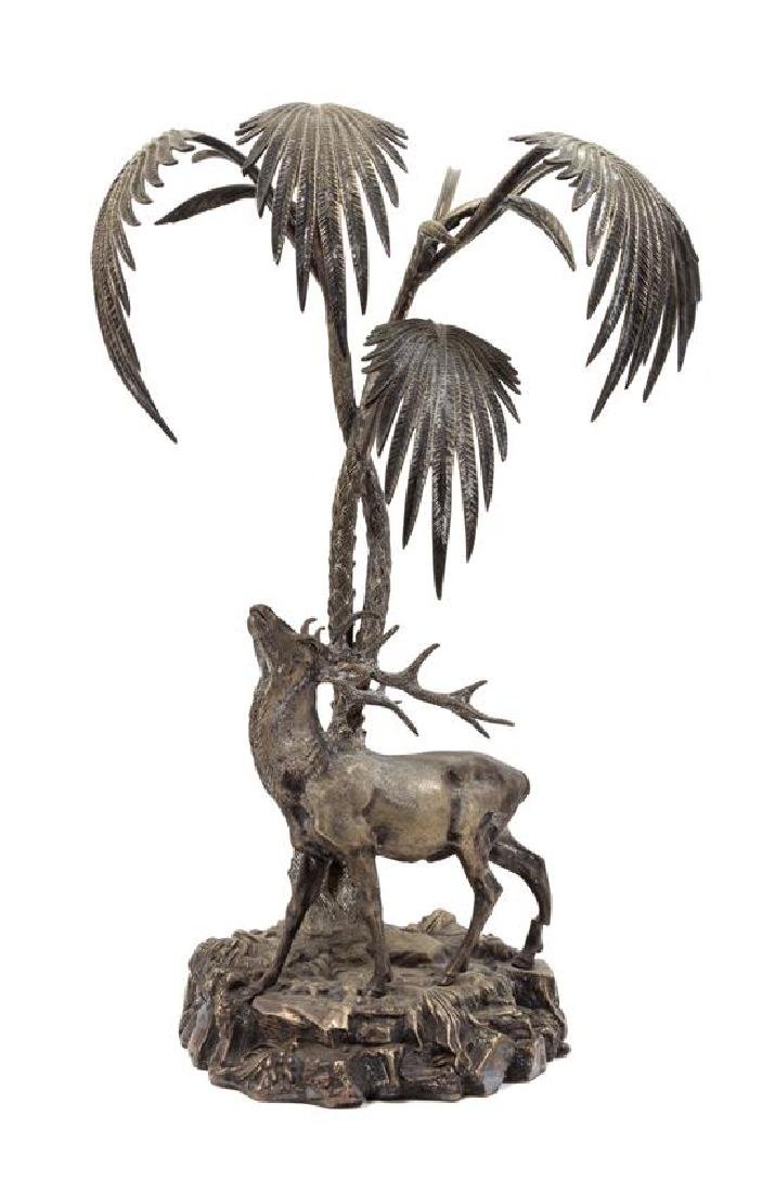 A Silvered Bronze Centerpiece Height 18 inches.