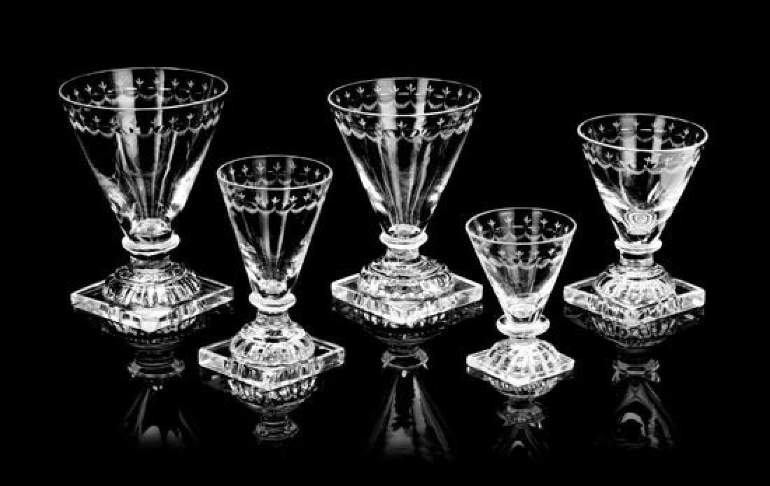 An English Cut Glass Stemware Service Height of tallest