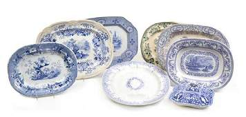 A Collection of Eight Staffordshire Platters Width of