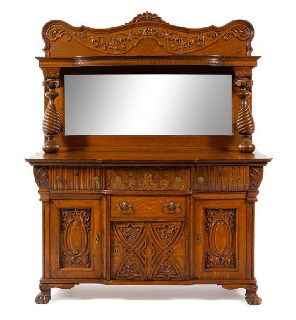 A Victorian Oak Server Height 75 1/8 x width 39 1/4 x
