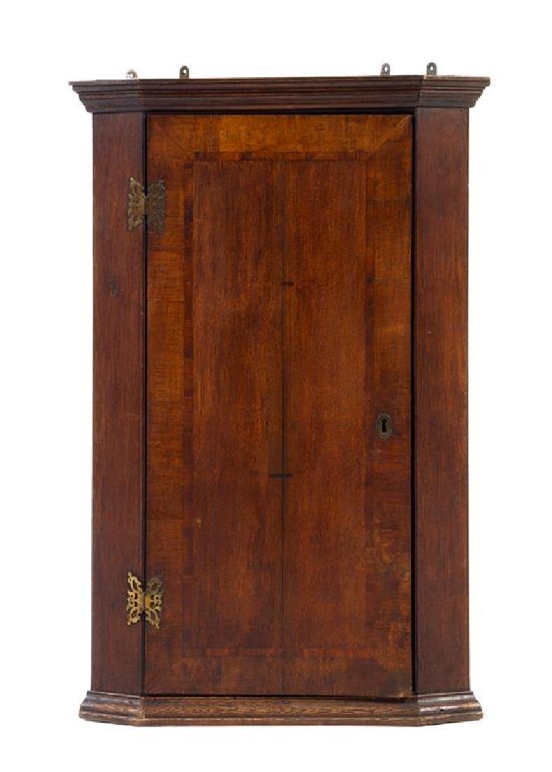 An English Oak Corner Cabinet Height 37 1/2 x width 24